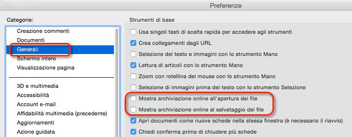 Disattiva l'opzione di archiviazione online