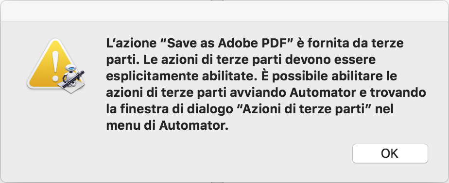 Errore durante la stampa di un documento Word su Adobe PDF