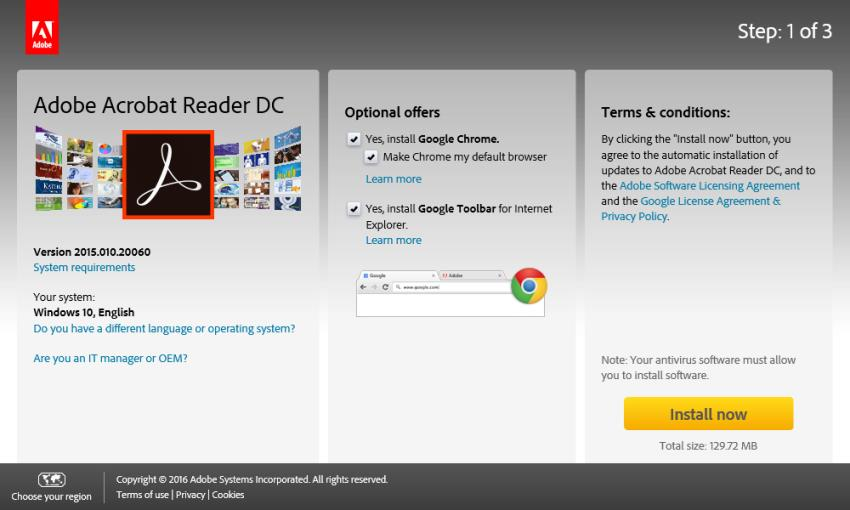 Pagina di download di Acrobat Reader
