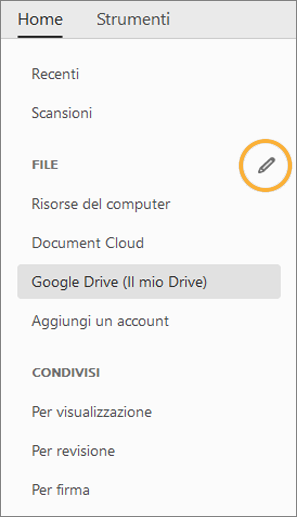 Pulsante Modifica per gli account online