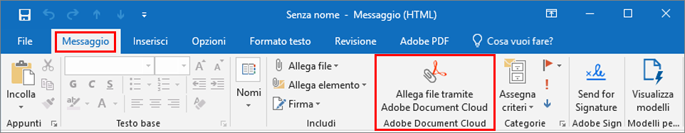 Pulsante Allega file tramite Adobe Document Cloud