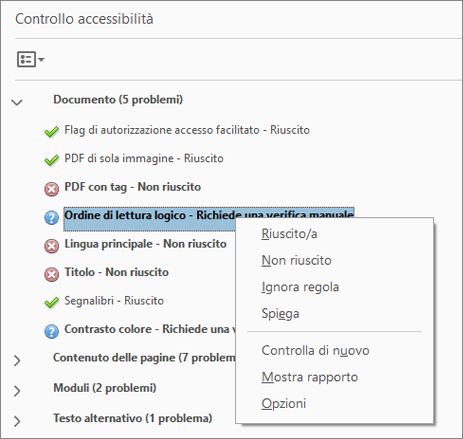 Controllo accessibilità in Acrobat