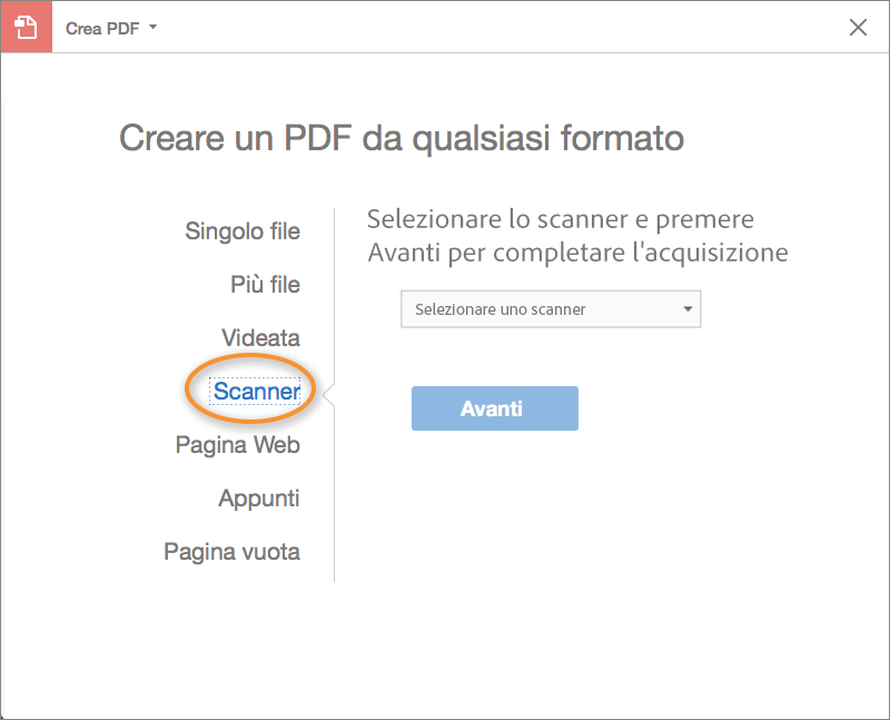 Opzioni per la scansione di documenti cartacei in PDF su Mac