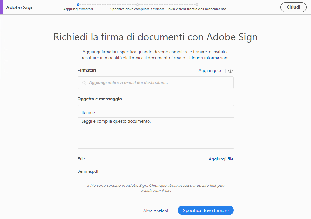 Pagina di destinazione di Adobe Sign