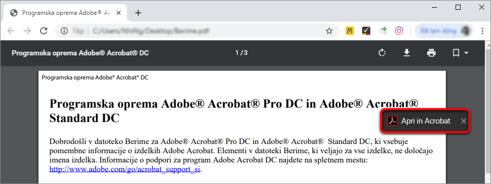 Aprire in Acrobat da Chrome