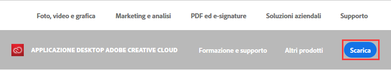 Download dell'applicazione Creative Cloud per desktop da adobe.com