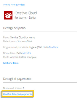 Iscrizione a Creative Cloud for teams