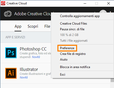 Accedere alle Preferenze nell'app desktop Creative Cloud