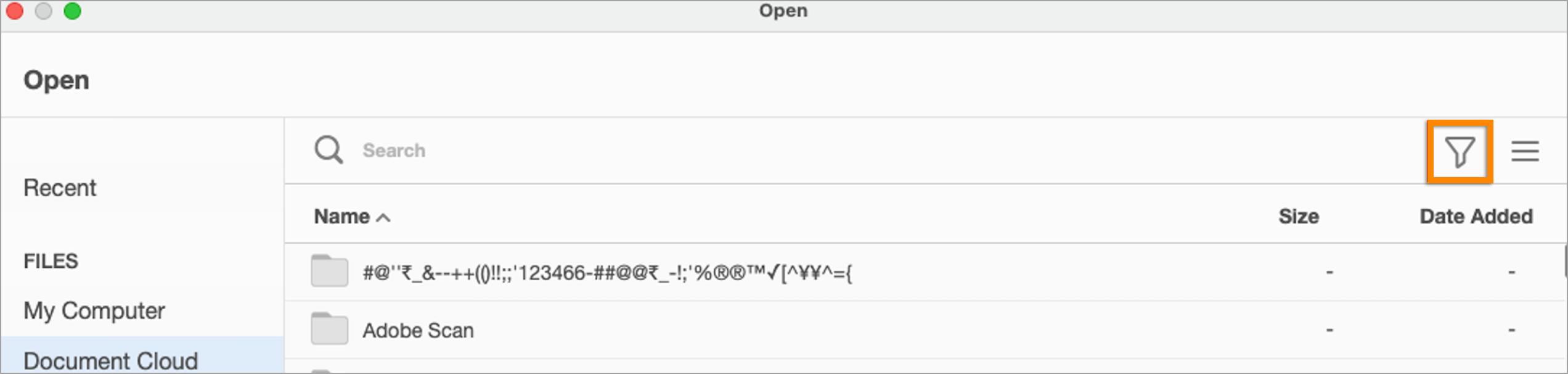 Filtro rimosso dalla finestra di dialogo per apertura file personalizzata in Document Cloud