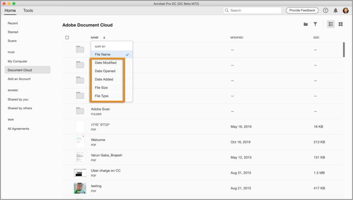 Ordinamento dei file in Document Cloud