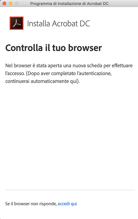 Controlla il browser e accedi al tuo account Adobe, se necessario