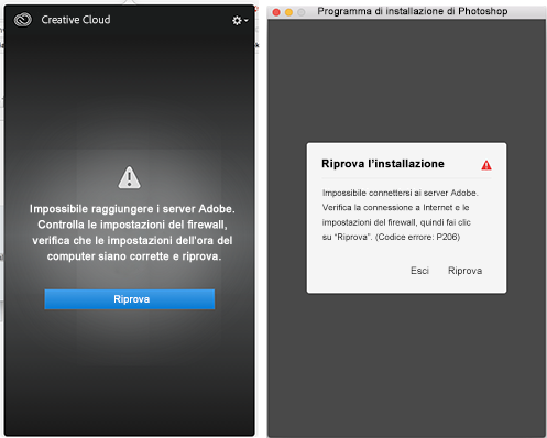 Impossibile connettersi ai server di Adobe