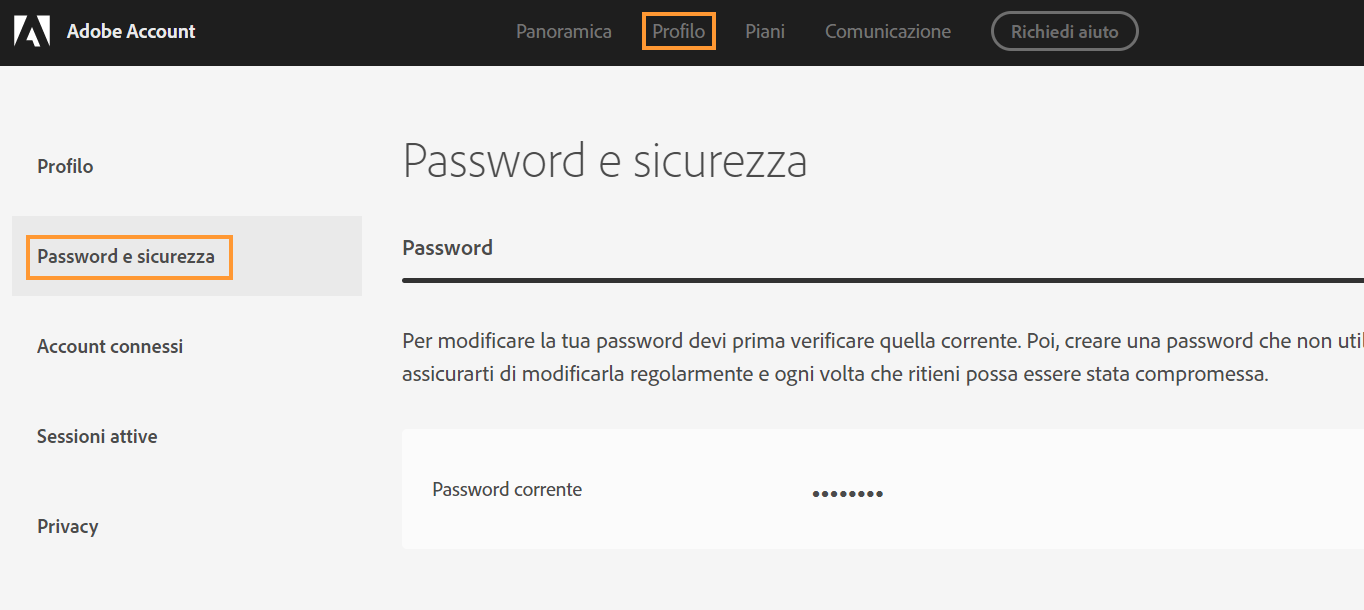 Schermata Password e sicurezza