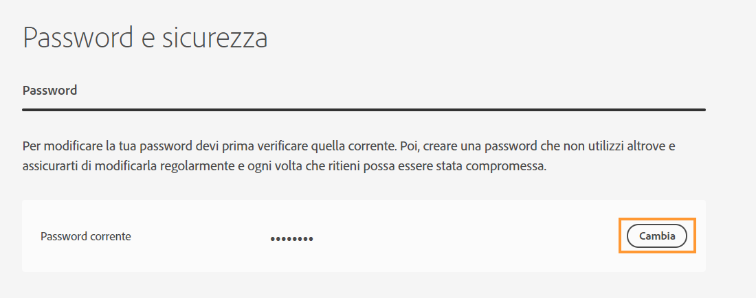 Sezione Password