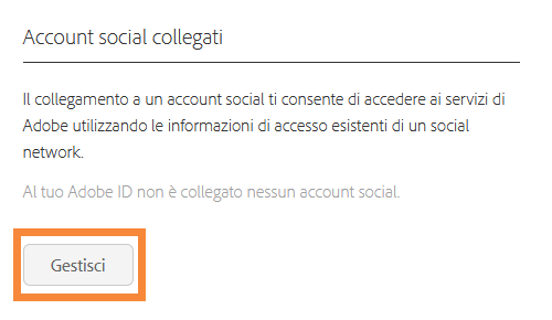 Account social connessi - gestione