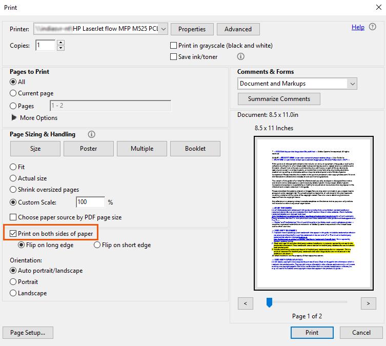 pdf 印刷 両面 短辺とじ