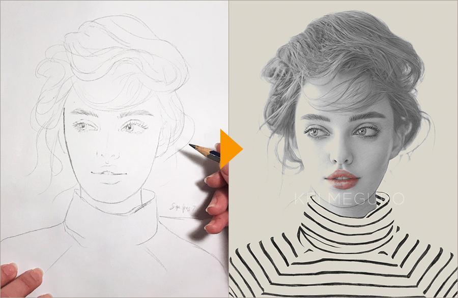 手描きのスケッチをphotoshopでアート作品に仕上げる Adobe Photoshop