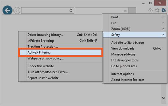 안전성, ActiveX 필터링 선택