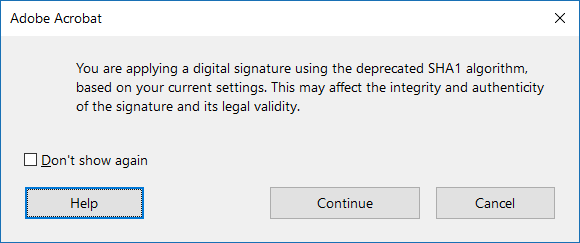 SHA1 algorithm warning message while digitally signing a PDF document in Acrobat DC or Acrobat Reader DC