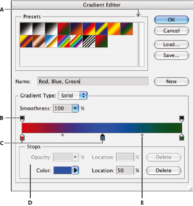 Photoshop Gradient Editor dialog box