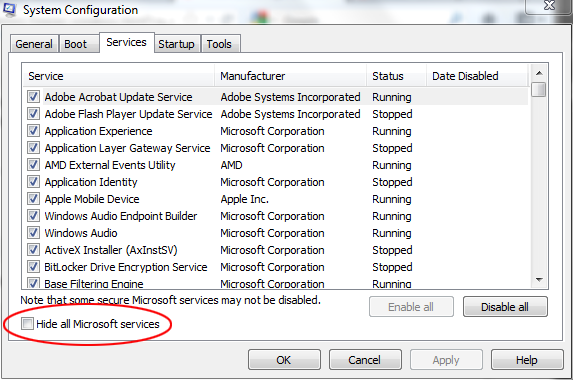 "Select ""Hide all Microsoft services"""