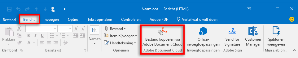 De knop Bestand koppelen via Adobe Document Cloud