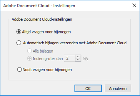 Adobe Document Cloud-instellingen
