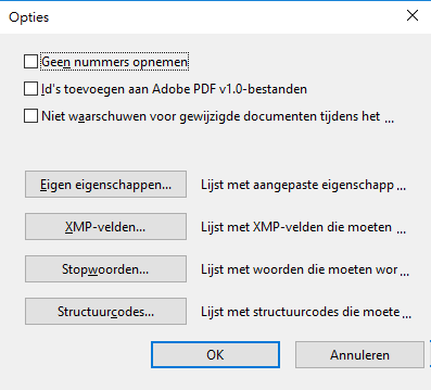 Dialoogvenster Opties in Acrobat