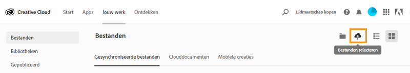 Middelen naar de Creative Cloud-website uploaden