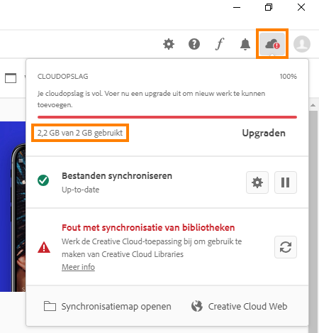 Opslagdetails in de Creative Cloud-desktopapp