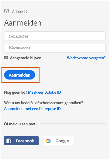 Aanmelden bij Adobe Document Cloud