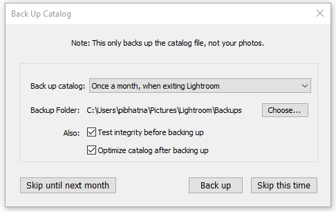 Het dialoogvenster Back-up van catalogus maken in Lightroom Classic CC