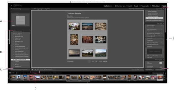 Module Web van Adobe Photoshop Lightroom CC