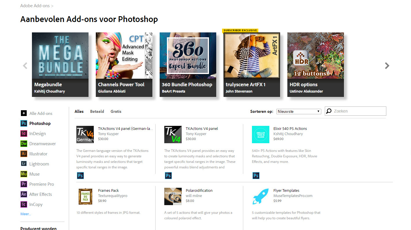 De pagina Adobe add-ons