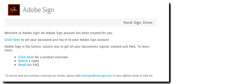 De welkomste-mail van Adobe Sign