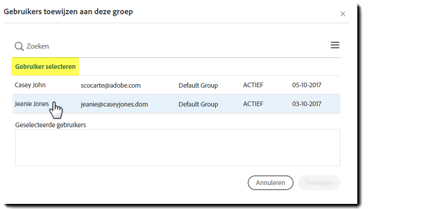 Select users to move to the new group