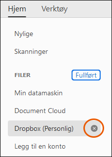 Alternativer for avkryssing og fullført for å fjerne en konto