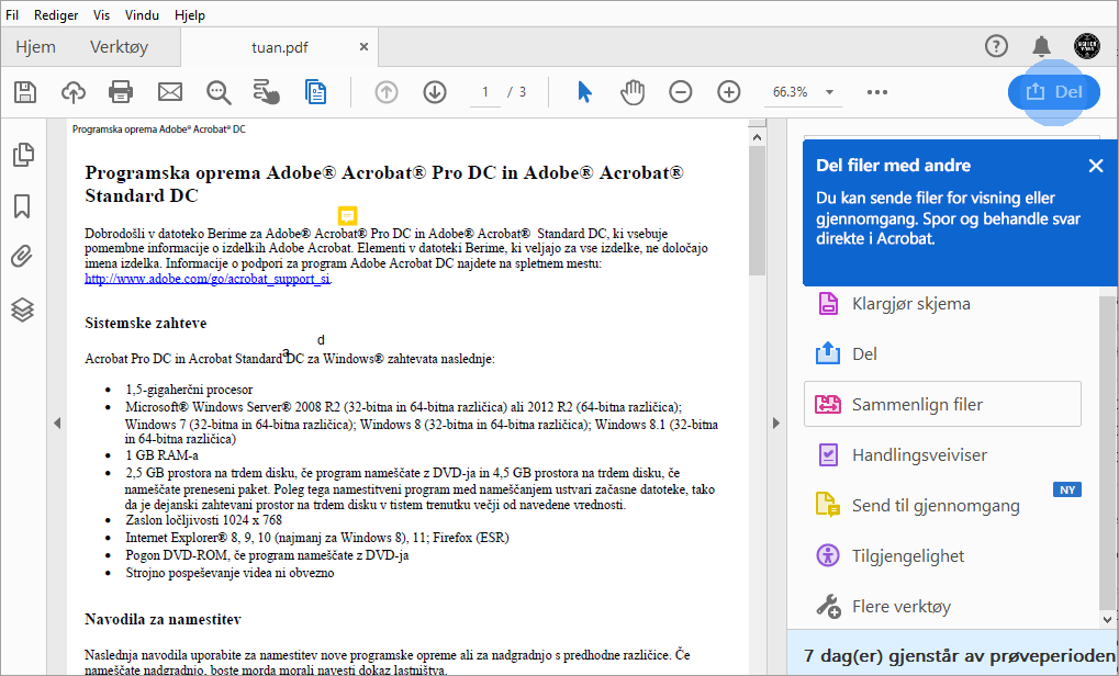 Acrobat-tips for deling av PDF