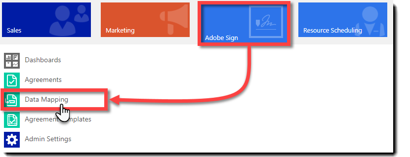 Gå til Hoved > Adobe Sign > Datatilordning