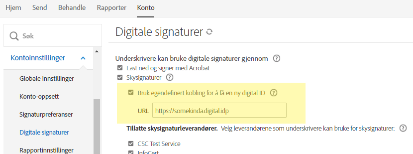 April 2019 – egendefinert URL for leverandør av digital signatur