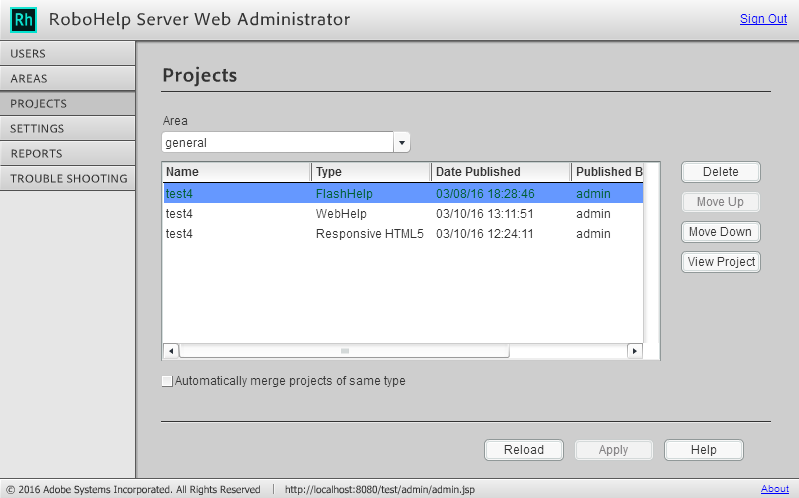 Projects tab in RoboHelp Server Web Administrator