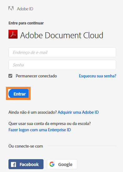 Efetuar no Adobe Document Cloud