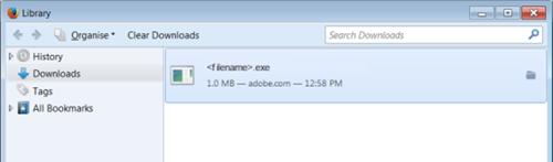 Abra a biblioteca de download