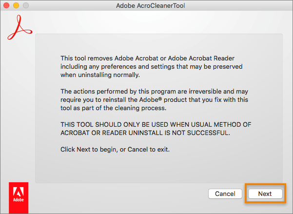 Acrobat Cleaner Tool