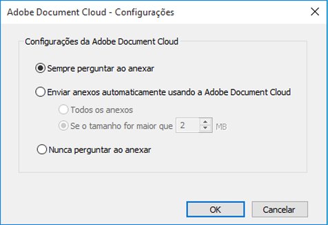 Configurações da Adobe Document Cloud