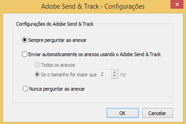 Configurações do Adobe Send & Track
