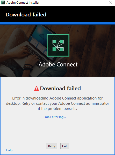 Erro de download do instalador do aplicativo do Adobe Connect