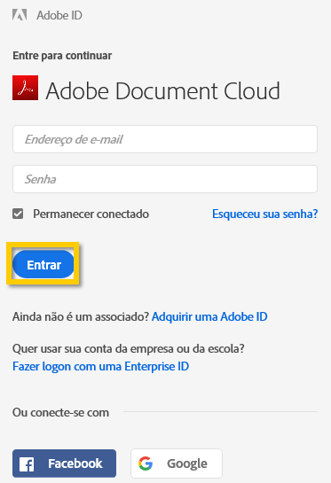 Fazer logon na Adobe Document Cloud