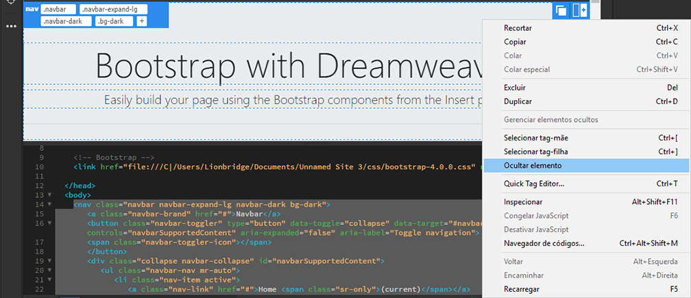 Ocultar elementos do Bootstrap no Dreamweaver