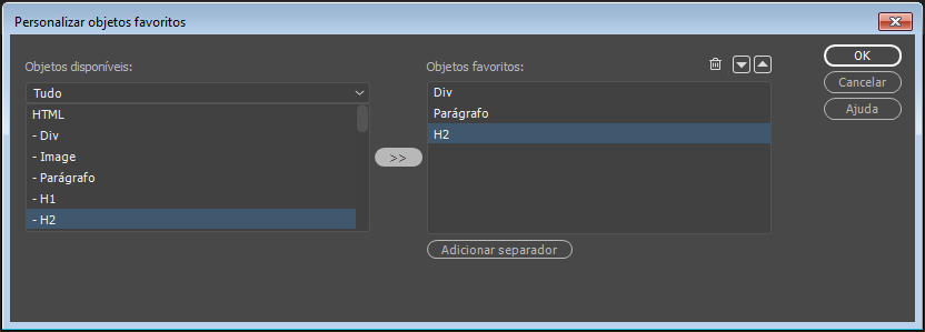 Personalizar favoritos do painel Inserir